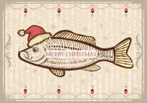 7646995-christmas-fish-in-santa-red-hatvintage-drawing-card-on-old-texture